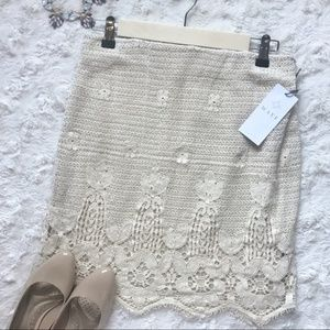 {Wayf} Cream Lined Elastic Waist Lace Skirt NWT